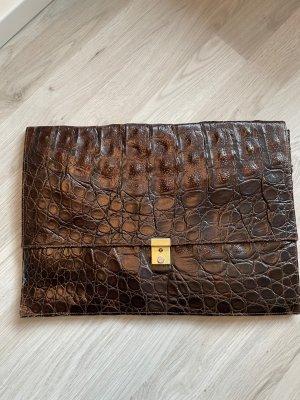 Vintage Echt Leder Clutch Reptil Optik Brieftasche