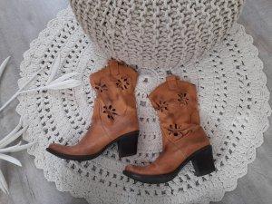 Vintage echt Leder Cowboy Stiefelette Gr. 40 boho Hippie Festival Lochmuster