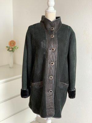 Vintage Echt-Leder schwarzer Winter-Mantel Lammleder Gr. 4XL
