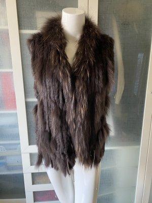 Fur vest dark brown