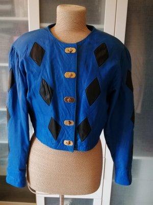 Leather Blazer neon blue leather