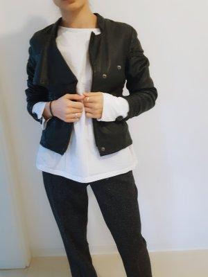 Topshop Veste en cuir noir-gris anthracite