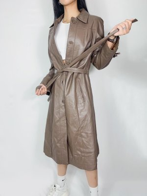 Vintage Cappotto in pelle marrone-grigio