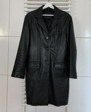 Vintage Echtleder Mantel schwarz 36/38