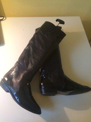 Vintage Echtleder Stiefel mit Lackapplikation Gr 7
