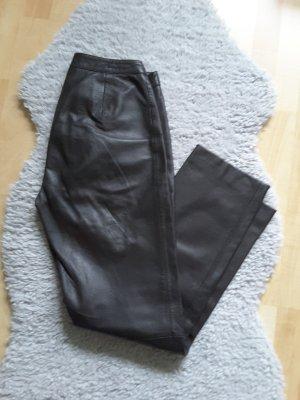 Pantalón de cuero marrón-negro Cuero