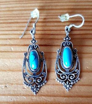 Orecchino d'argento argento-turchese