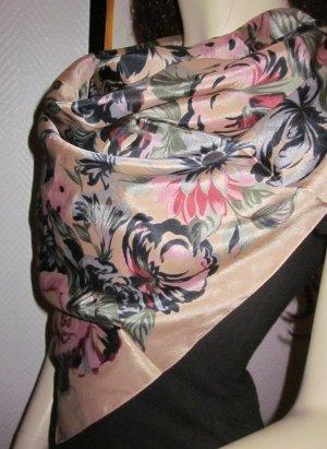VINTAGE Edles Tuch Halstuch Schal Scarf Seide? Blumen Blütenprint camelfarben camel bunt Rosen Muster grün altrosa rosa rost braun