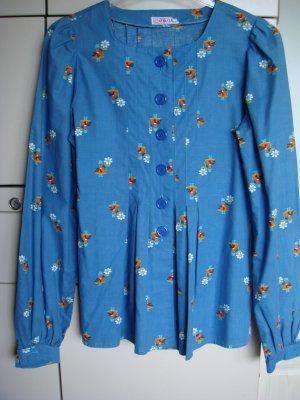 Vintage - ELKOM - Bluse mit Schößchen Gr. 36/38 taubenblau - 70er Jahre