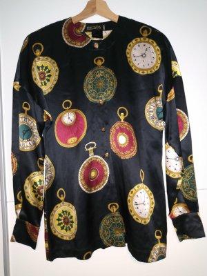 vintage Escada Seidenhemd mit Uhrenmotiv
