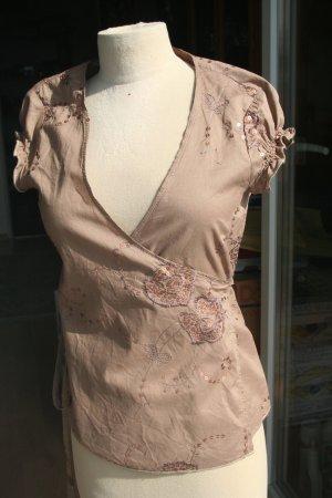 Vintage - festliche Bluse -  Wickel-Top ohne Arm Gr. 36/38 zum Binden, hellbraun mit Stickerei und Pailetten - neu