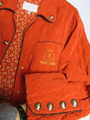 Vintage feurig Orange Gold Steppjacke - Elegance Paris Golf Club - Gr. M L  -  80er Jahre Golf Jacke Steppmantel - Made in Germany