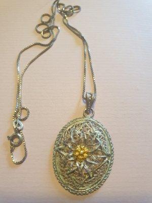 vintage Filigrane 925 Silberkette mit Edelweiß Anhänger