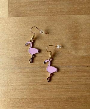 Boucle d'oreille incrustée de pierres rose clair-doré