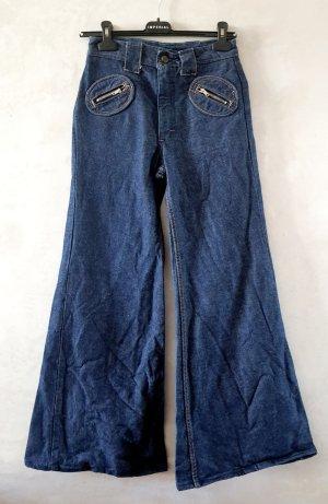 Vintage Jeansowe spodnie dzwony ciemnoniebieski
