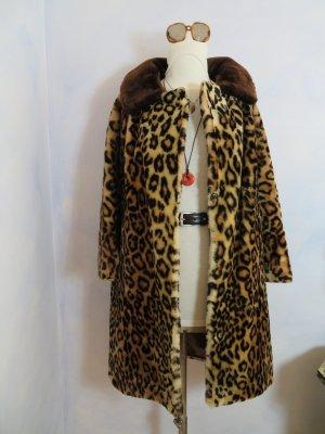 Vintage Fluffy Leopard Kunstpelz Fake Fur Bloggermantel M L XL Animal - Braun Gelb - hochwertiger Designermantel/Schneiderarbeit - Baumwolle/Viskose