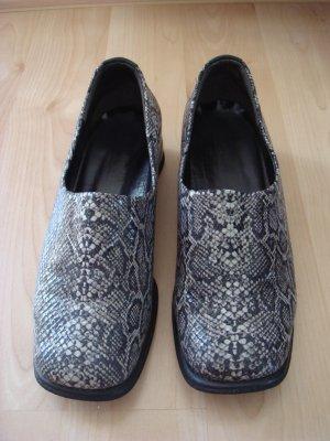 Vintage - Gabor Schuhe Halbschuhe Gr. 6,5 - Schlange grau schwarz