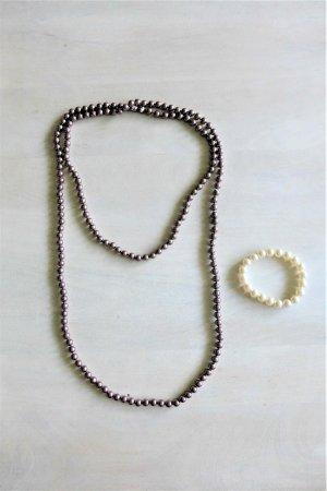 Vintage Gatsby Flapper 20s Perlenkette Armband braun creme weiß