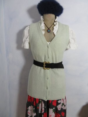 Vintage gerippt ärmellose Strickjacke Weste - Größe M - Creme Wolle A ngora Pullover Basic Pullunder