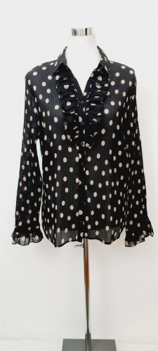 Vintage/Gerry Weber / Plissee Bluse / Größe 48/ eher für eine M-L geeignet/ Schwarz mit braunen Punkten