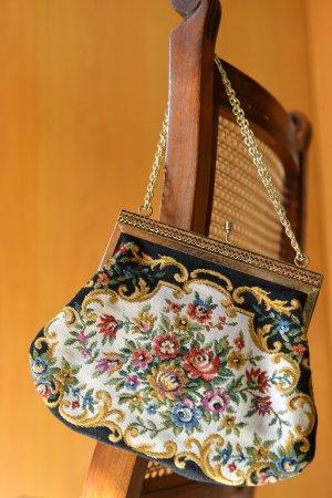 VINTAGE Gobelin Minibag bestickte kleine Tasche Handtasche Petit Point Bügeltasche
