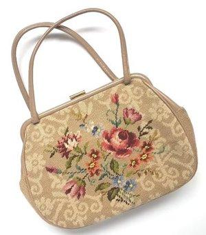 Vintage Gobelin Tasche, Handtasche, beige mit Echtleder!