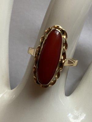 Złoty pierścionek złoto-ciemnoczerwony