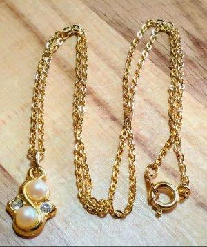 Vintage goldene Kette mit Anhänger, Perlen