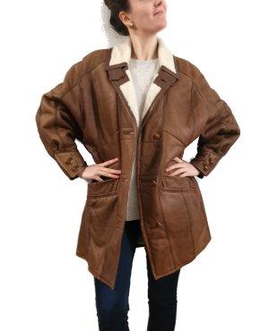 Vintage Gr. L/XL oversized echtes gewachsenes Lammfell Flieger Jacke Mantel Echtleder warm Winter