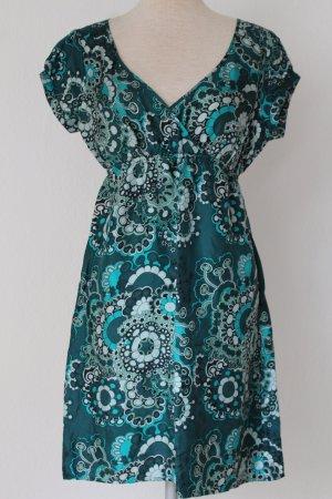 Vintage grün 70-iger Jahre 100 % Seide hippie Minikleid Gr. 40 Pril Blumen grün Warehouse