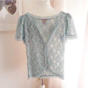 H&M L.O.G.G. Koronkowa bluzka jasnoniebieski Tkanina z mieszanych włókien