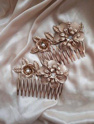 Vintage Haarkamm 2x Blumen Bronze Gold