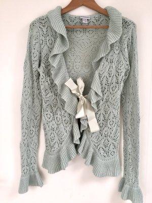 Melrose Szydełkowany sweter szaro-zielony-jasnoniebieski