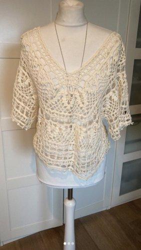 Unikat Einzelstück Haut en crochet crème-blanc cassé