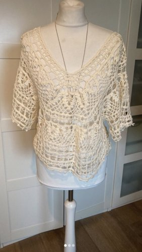 Unikat Einzelstück Crochet Top cream-natural white