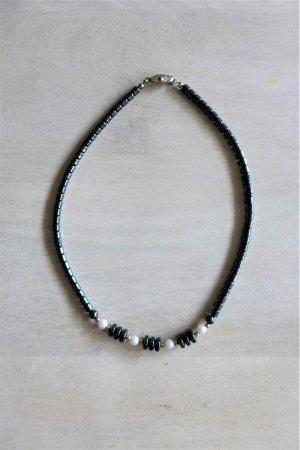 Vintage Hämatit Halbedelstein Kette dunkelgrau weiß silber Perle 80er 90er