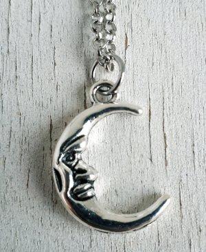 Vintage Halskette Mond in Silber