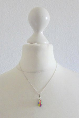 vintage Halskette silber Regenbogen Stein