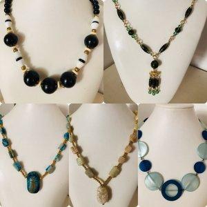 Vintage Halsketten Pin up Lady Perlen