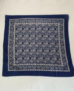 Vintage Pañoleta blanco-azul tejido mezclado
