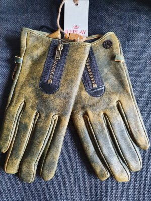 Replay Leather Gloves olive green