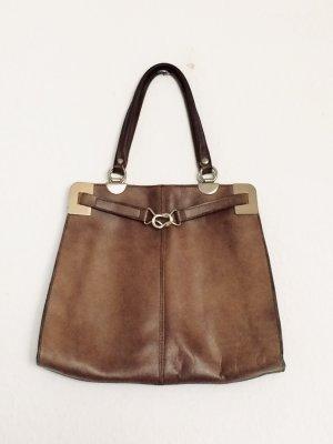 Vintage Handtasche Echt Leder Rindsleder dunkelbraun und silber