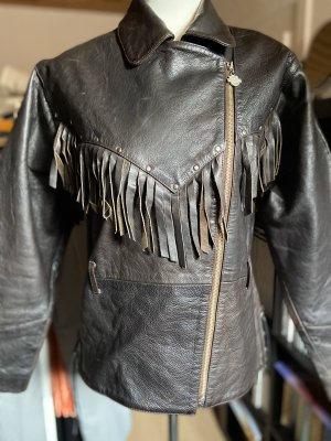 Vintage Harley Davidson Oversize Lederjacke mit Fransen und Nieten Braun Gr. M