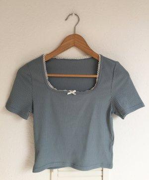 Vintage Top recortado gris pizarra-azul celeste Algodón