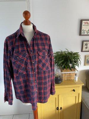 Vintage Chemise de bûcheron bleu foncé-rouge brique coton