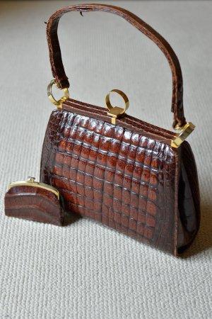 Vintage Henkeltasche Krokoleder Krokodil Leder 60er Handtasche Bügeltasche