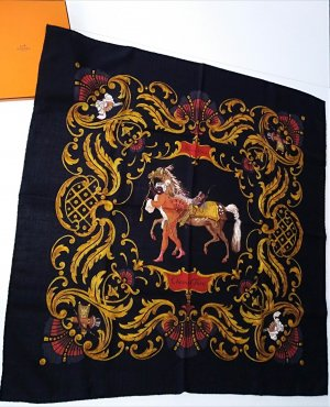 Hermès Szalik z kaszmiru czarny Kaszmir