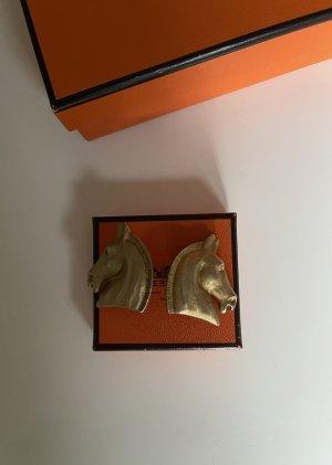 Hermès Clip d'oreille brun sable tissu mixte