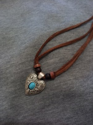Vintage  Herz Halskette  mit Lederriemen Lederhalskette