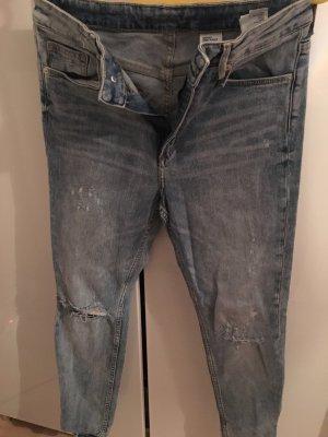 H&M Hoge taille jeans lichtblauw Katoen